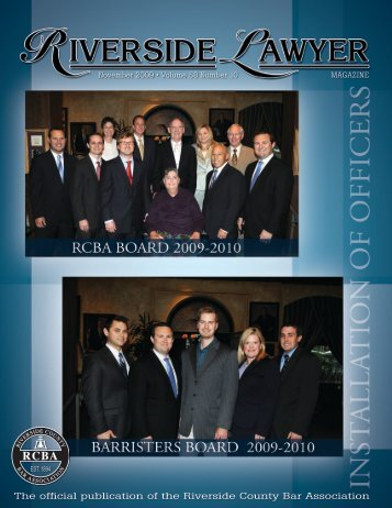November 2009 - Riverside Lawyer Magazine - Riverside County ...