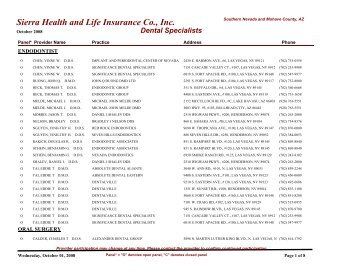 Dental 2005 Directory Hpn Specialists Sierra Health And Life