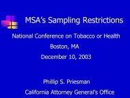 MSA's Sampling Restrictions - 2003 National Conference on ...