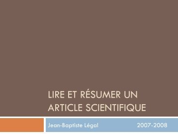 Lire & Résumer un ar.. - Jean-Baptiste Légal - Free