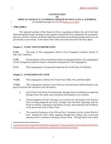 DRAFT 12-28-2012 1 CONSTITUTION OF FIRST EVANGELICAL ...