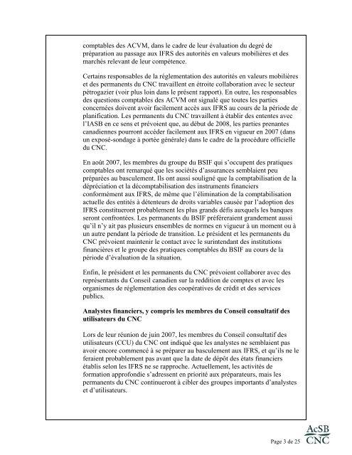 Rapport préliminaire sur l'évaluation de la situation relativement au ...