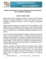 DISCURSO DEL PRESIDENTE DEL ESTADO PLURINACIONAL DE BOLIVIA, EVO MORALES, EN LA VII CUMBRE DE LAS AMÉRICAS