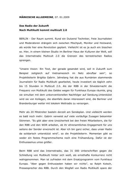 MÄRKISCHE ALLGEMEINE, 07. 01.2009 Das Radio ... - multicult.fm