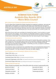 NOMINATION FORM Australia Day Awards 2014 Moira Shire Council