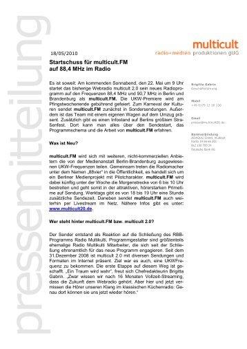 Vorlage Pressemitteilung UG - Multicult.fm
