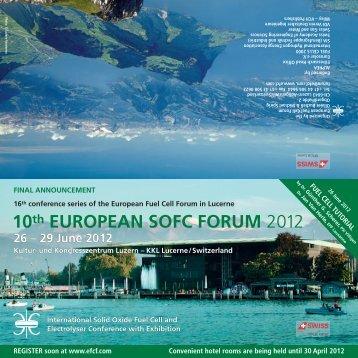 10th EUROPEAN SOFC FORUM 2012 - European Fuel Cell Forum
