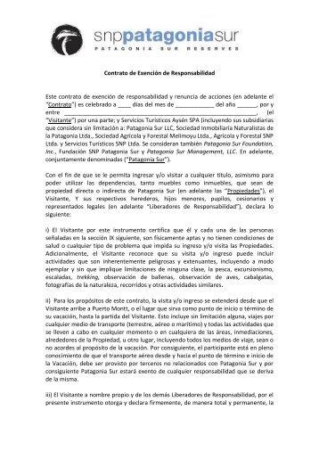 Contrato de Exención de Responsabilidad Este ... - Patagonia Sur