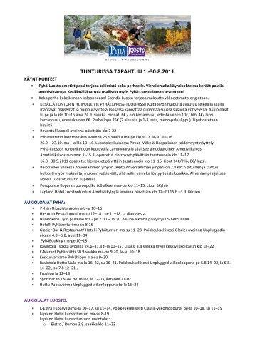 TUNTURISSA TAPAHTUU 1.-30.8.2011 - Pyhä