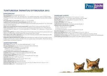 TUNTUREISSA TAPAHTUU SYYSKUUSSA 2012 - Pyhä
