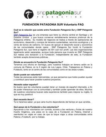 FUNDACION PATAGONIA SUR Voluntario FAQ