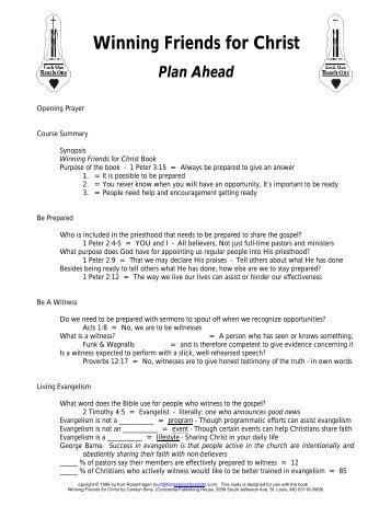 1 - Plan Ahead - Teacher Notes - Bible Stories for Adults