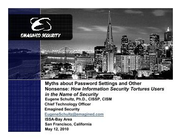 Myths about Password Settings... - San Francisco Bay Area ISSA ...