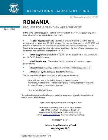 Romania letter of intent memorandum of economic and imf romania request for a stand by arrangement imf country report spiritdancerdesigns Image collections