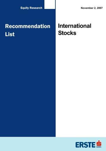 Recommendation List International Stocks - Bancherul