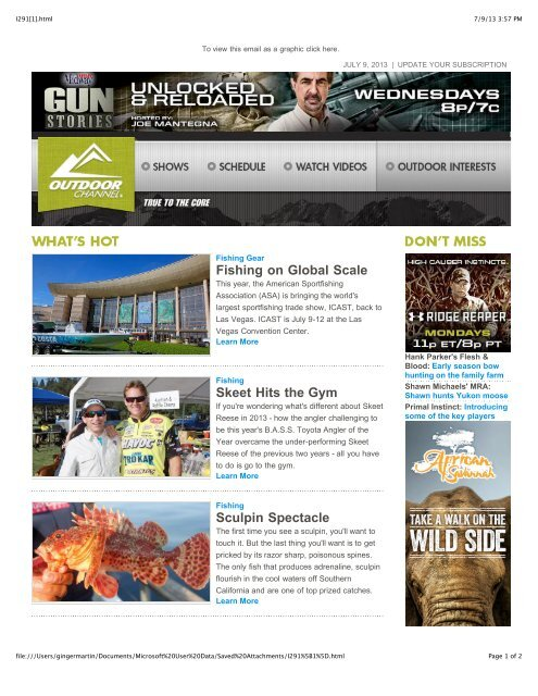 Issue 291 - July 9, 2013 - Outdoor Channel