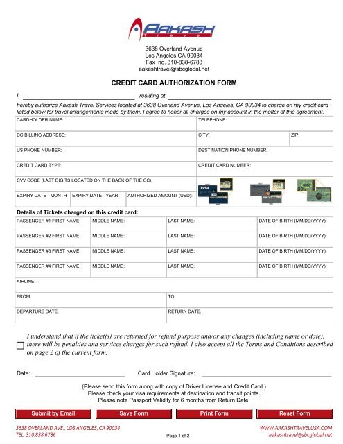 Credit Card Authorization Form I Understand That If The