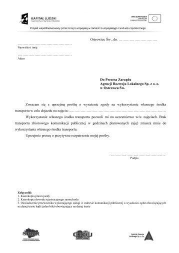 Dokumenty do rozliczania kosztów dojazdu - Agencja Rozwoju ...