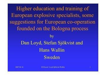Higher education and training of European explosive ... - EU-Excert