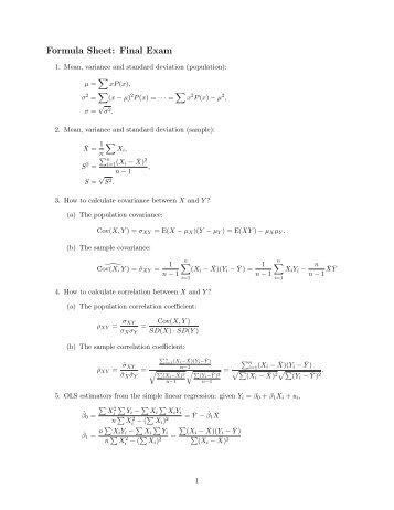 Formula Sheet: Final Exam