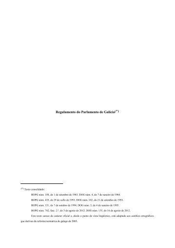 Regulamento do Parlamento de Galicia(*)