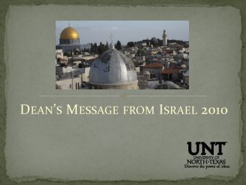 Israel Message From the Dean 2010.pdf - College of Arts & Sciences