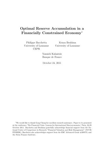 Optimal Reserve Accumulation in a Financially ... - sinergia