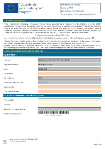 Formularz wniosku na projekty mobilności 2013 - Leonardo da Vinci