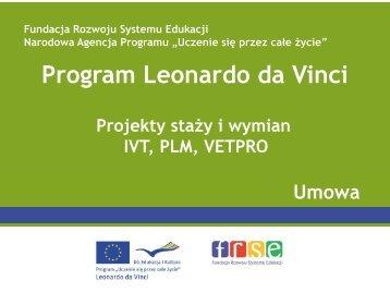 Umowa finansowa 2012 - Leonardo da Vinci