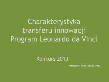 Charakterystyka transferu innowacji - Leonardo da Vinci