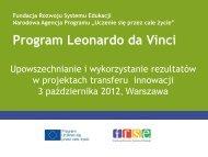 Upowszechnianie - Leonardo da Vinci
