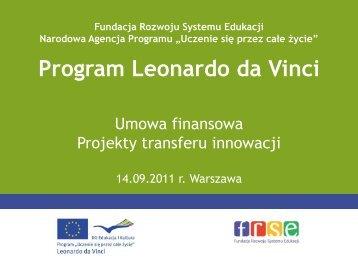 Umowa finansowa - Leonardo da Vinci