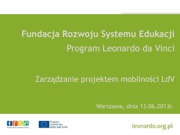 Zarządzanie projektem - Leonardo da Vinci