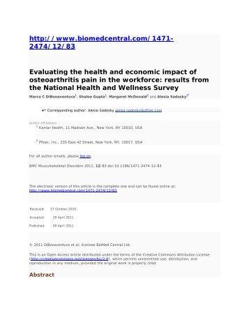 http://www.biomedcentral.com/1471- 2474/12/83 ... - Kantar Health