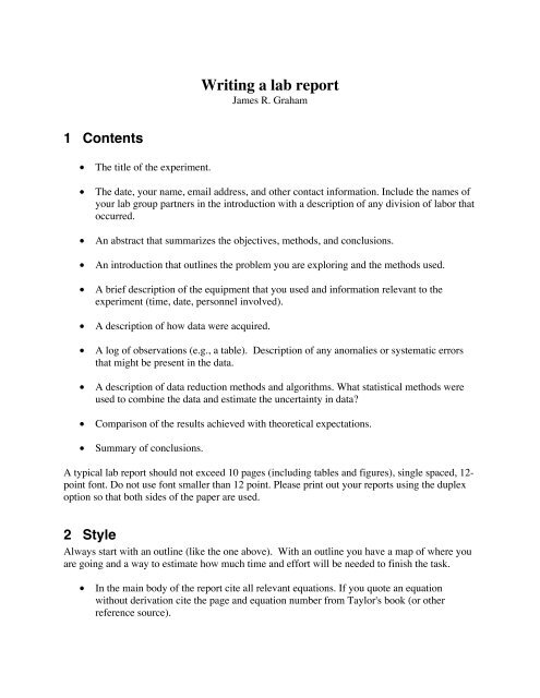 Writing a lab report - UGAstro