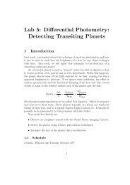 Lab 5: Differential Photometry: Detecting Transiting Planets - UGAstro