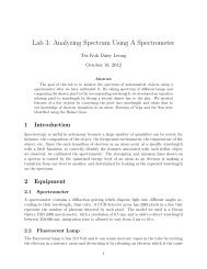 Lab 3: Analyzing Spectrum Using A Spectrometer - UGAstro