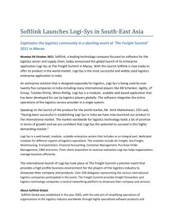 02-Nov-2011 : Softlink Launches Logi-Sys in South-East Asia