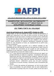 LES TEMPS FORTS DU COLLOQUE - AIVP