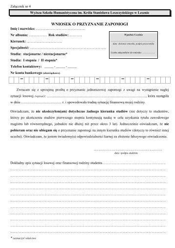 wniosek o przyznanie zapomogi - Wyższa Szkoła Humanistyczna w ...