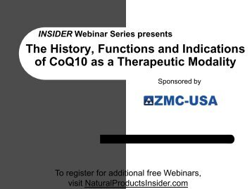 The History, Functions and Indications of CoQ10 as a ... - ZMC-USA