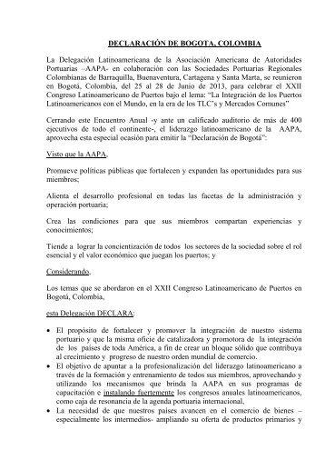 DECLARACIÓN DE BOGOTA, COLOMBIA La Delegación ... - AIVP