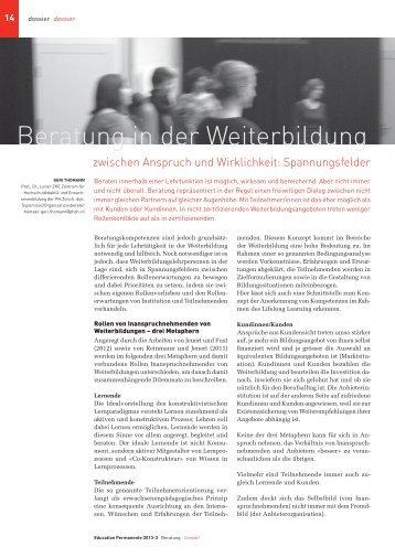 Beratung in der Weiterbildung - Pädagogische Hochschule Zürich