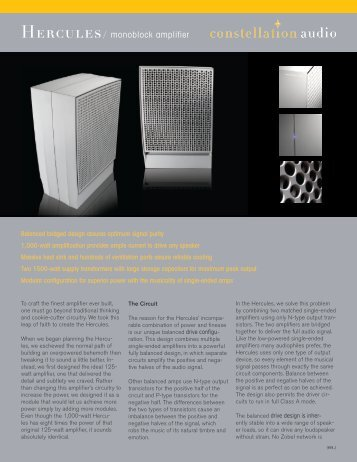 Product Specification Sheet - Constellation Audio