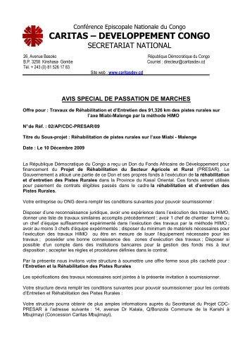 CDC PRESAR DAOL Réhabilitation et entretien de 91,326 ... - Caritas