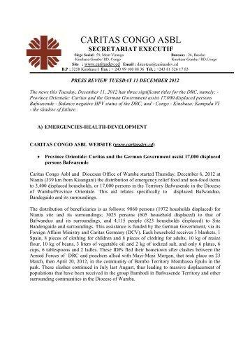 revue de presse du mardi 11 decembre 2012 _1 - caritasdev.cd