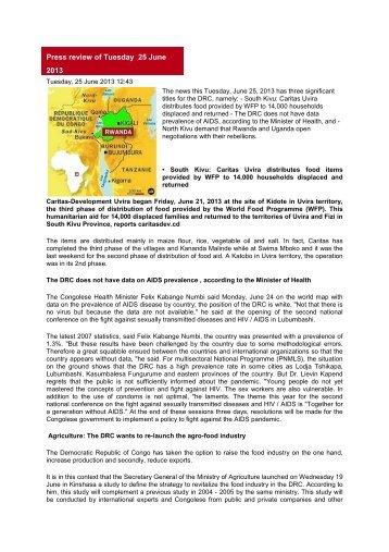 Press review of Tuesday 25 June 2013 - Caritas Congo