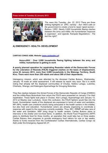 PRESS REVIEW JANUARY 22 - Caritas Congo