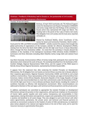 Article on feedback - Caritas Congo