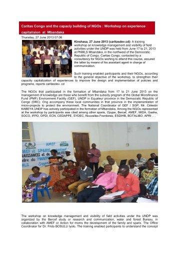 Caritas Congo and the capaciy building of NGOs - caritasdev.cd